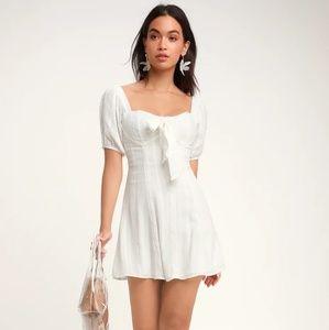 White Puff Sleeve Mini Dress